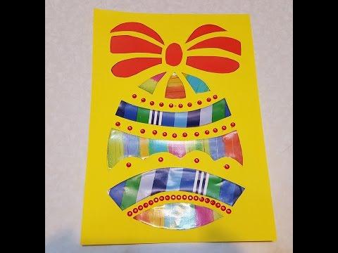 Пасхальное яйцо Аппликация из цветной бумаги с шаблоном для скачивания