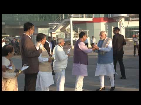 PM Narendra Modi arrives at Vadodara airport in Gujarat on two-day visit