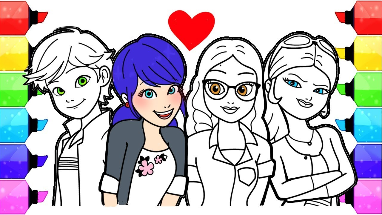 Miraculous Ladybug Coloring Pages | How To Draw And Color Ladybug Coloring  Book Marinette Alya Chloe