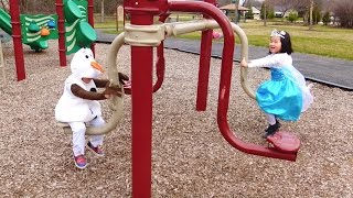 Playtime at the Park Playground with Cute Olaf and Elsa