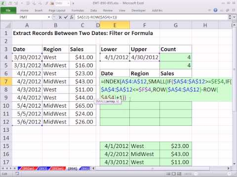 Excel Magic Trick 894: Extract Records Between Two Dates: Filter or Formula