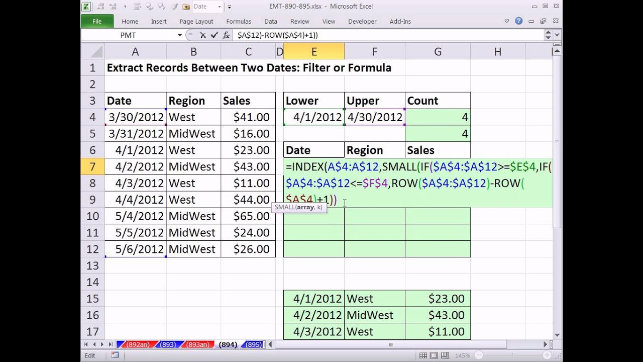 Excel Magic Trick 24: Extract Records Between Two Dates: Filter or Formula