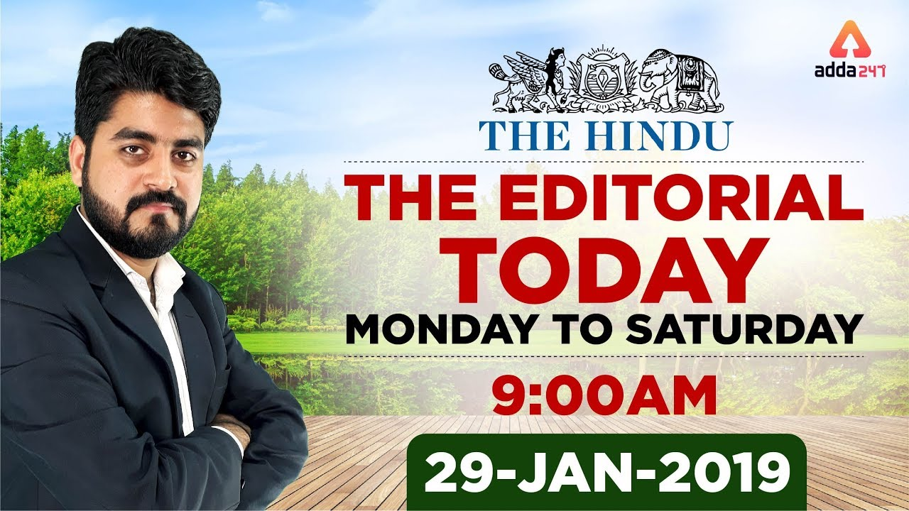 29thJanuary 2019   The Editorial Today   The Hindu