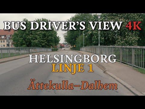Bus Driver's View 4K: Helsingborg Linje 1 - Ättekulla-Dalhem