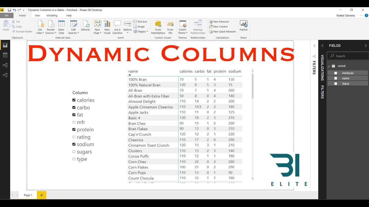 Power BI - Dynamic Columns in a Table