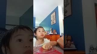 Kid eating durien