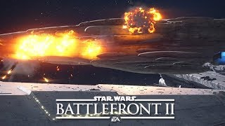 STAR WARS: BATTLEFRONT 2 All Space Ship Explosion Scenes (Star Destroyer, Death Star II, X-Wing)