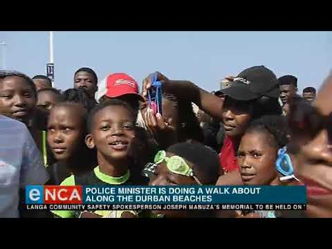 Police minister Bheki Cele is on a walk about along Durban North beach