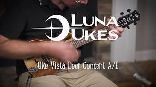 Luna Ukulele Vista Deer Concert with Fishman