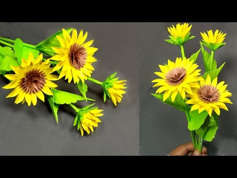 How to Make Paper Sunflower Beautiful Decoration Idea!! Paper Sunflower! Abigail Paper Crafts