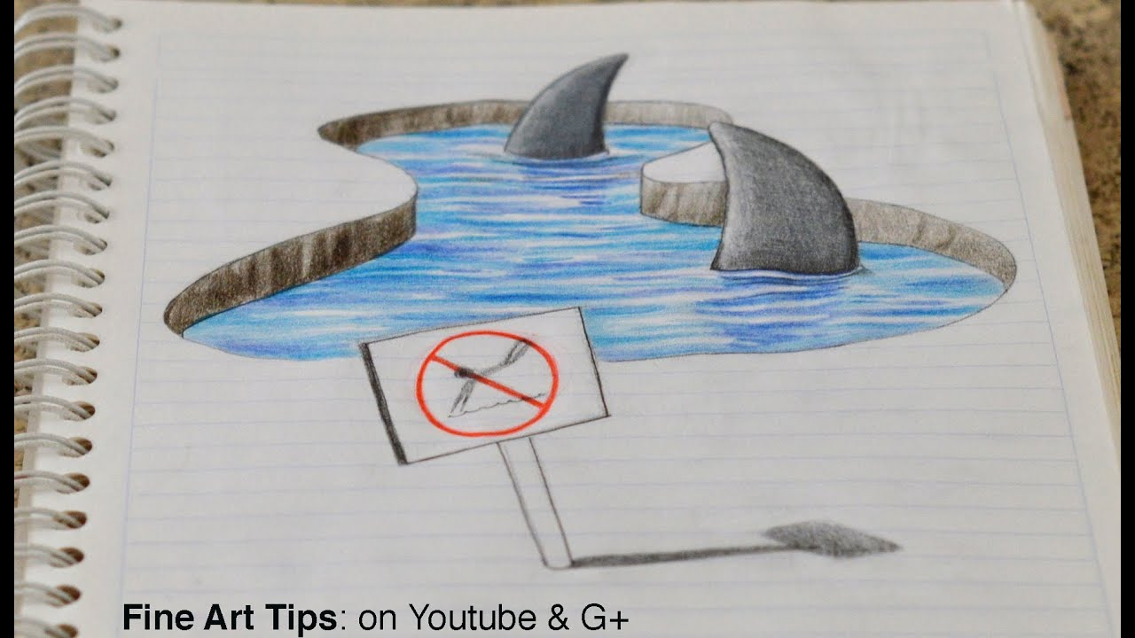 Drawing 3D Sharks on my Notebook! - 3D Anamorphic Drawing ...