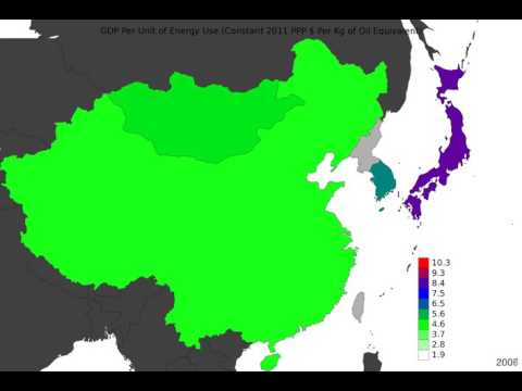 East Asia - Gdp Per Unit Of Energy Use - Time Lapse