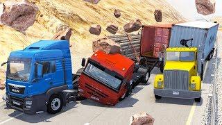 Beamng drive - Rockfall Crashes #8