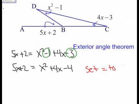 Triangle exterior angle theorem quadratic youtube - How to do exterior angle theorem ...