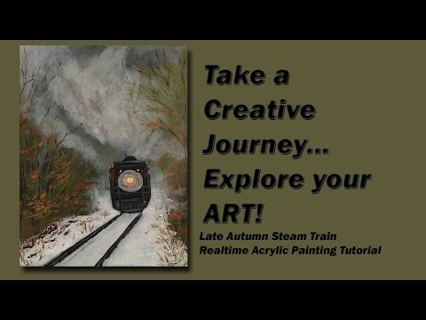 How to Paint a Late Autumn Steam Train Real Time Acrylic Painting tutorial
