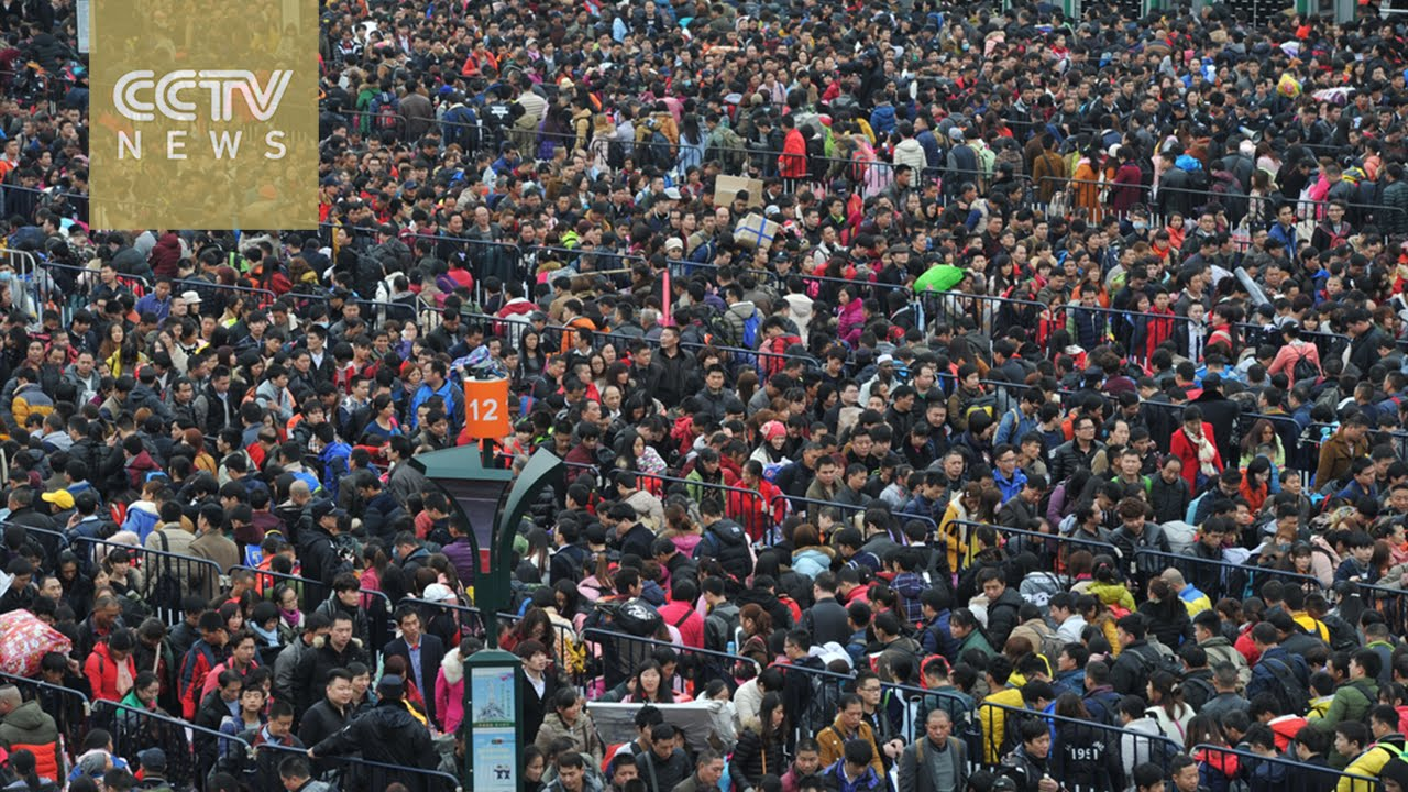 Aerial Shot Spring Festival Rush At Guangzhou Railway Station