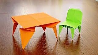 Как сделать стол из бумаги | Мебель для кукол своими руками | ОРИГАМИ СТОЛ