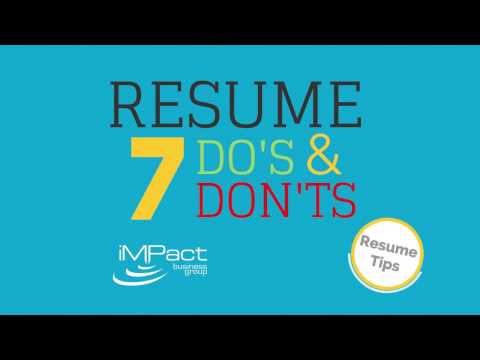 7 Resume Dos and Don\u0027ts - YouTube