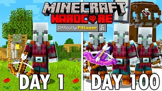 I Survived 100 Days as a PILLAGER in Hardcore Minecraft... Minecraft Hardcore 100 Days