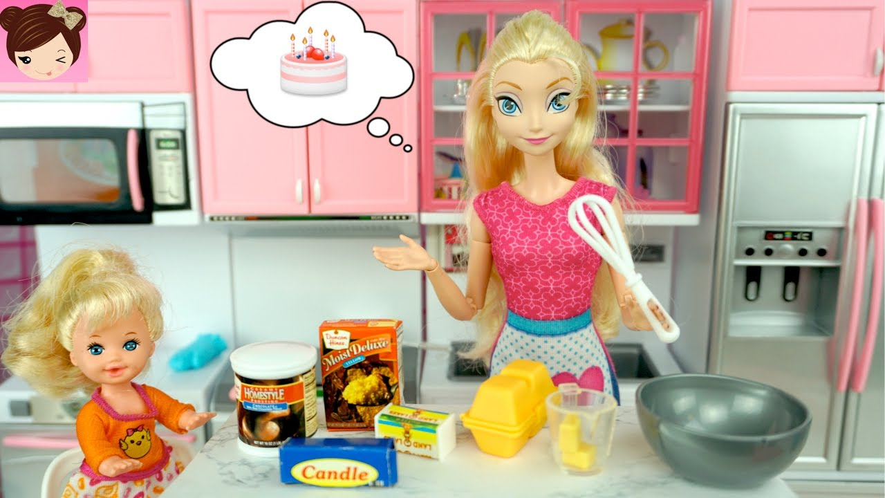 Frozen Elsa And Her Baby Bake A Cake Doll Kitchen With