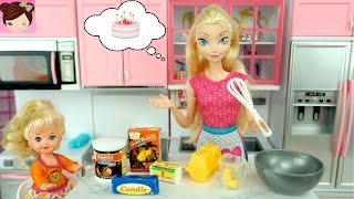 Frozen Elsa and Her Baby Bake a Cake - Doll Kitchen with Toy Microwave, Oven, Regrigerator
