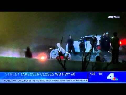 Jurupa Valley: Street Racers Shut Down Freeway to Perform Stunts