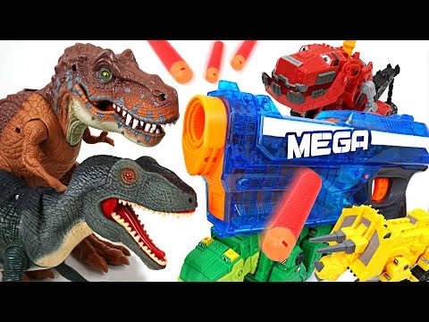 Thumbnail: Wild giant dinosaurs appeared! Dinotrux transforming Nerf gun fire!! - DuDuPopTOY