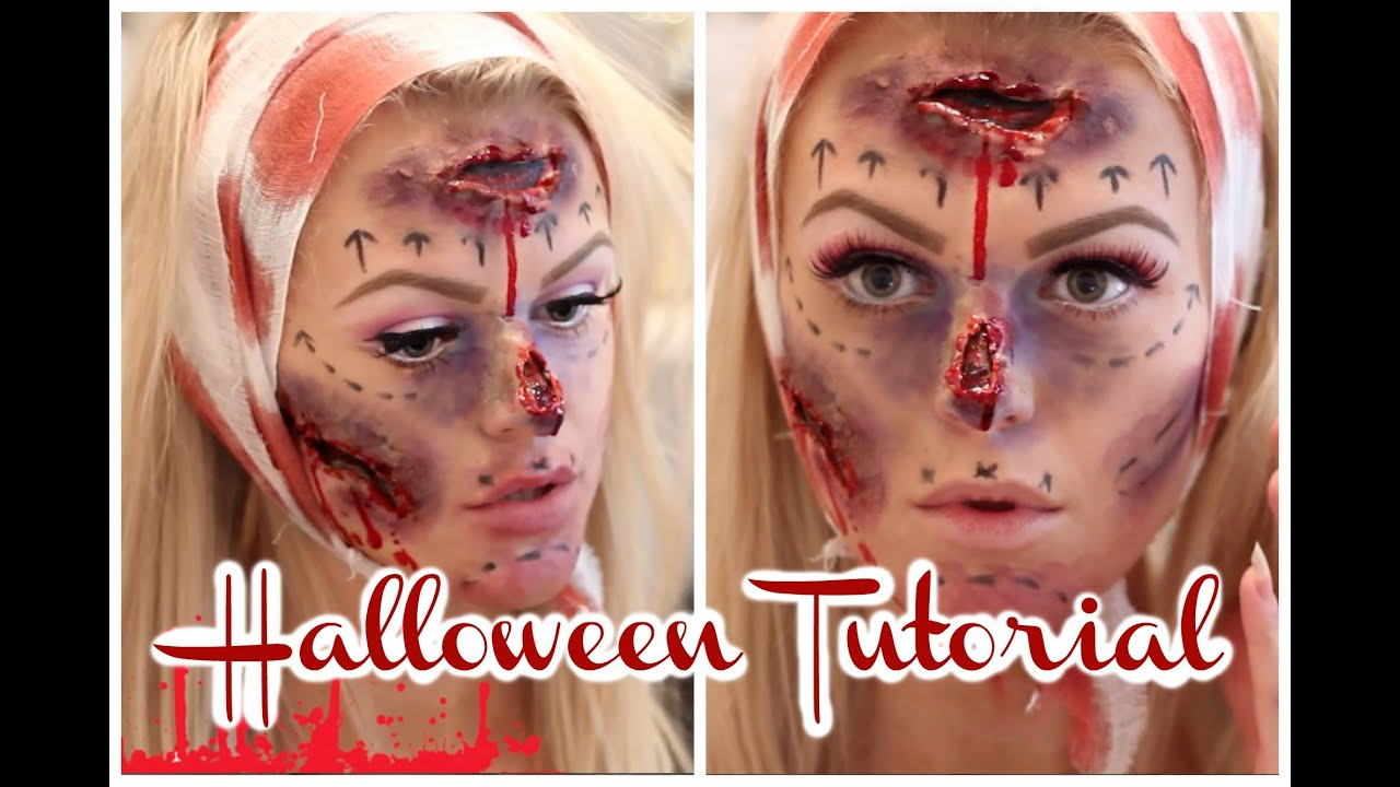 Plastic Surgery Gone Wrong Halloween Makeup Tutorial