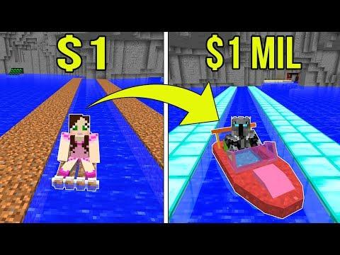 Minecraft: 1 DOLLAR BOAT VS 1,000,000 DOLLAR RAINBOW BOAT!!! Crafting Mini-Game