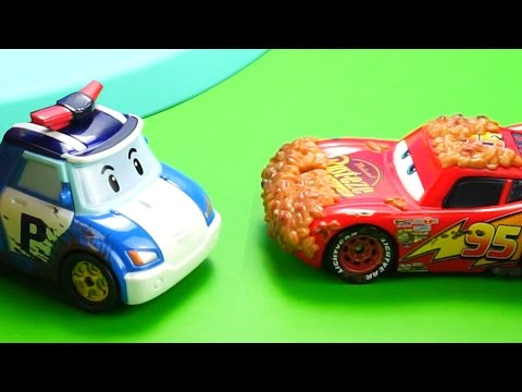 Disney Cars Toys Lightning McQueen and Robocar Poli Story at the carwash Champions are always clean!