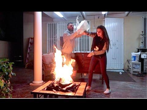 BURNING GIRLFRIEND'S MAKEUP CRAZY PRANK!! (SHE HIT ME)