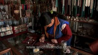 Ladakhi jewelry and souvenirs being sold at a shop in Leh