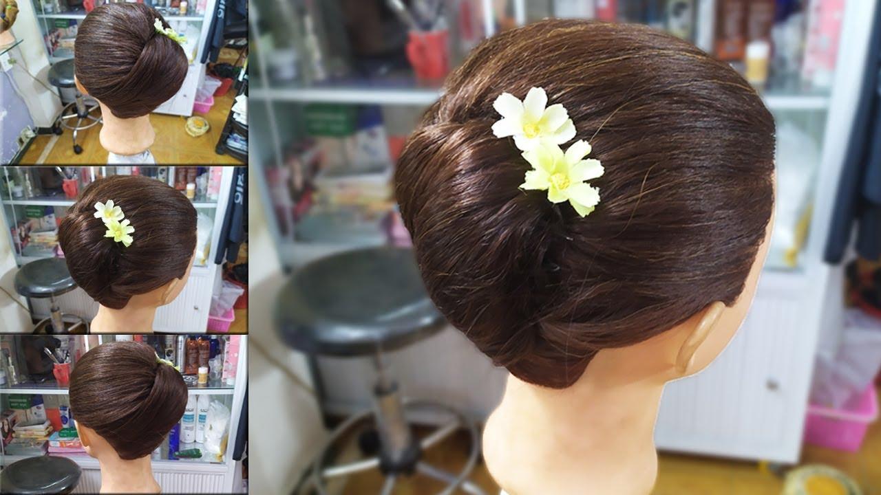 Bới tóc cô dâu đơn giản! Kiểu làm tóc đơn giản cho dâu, các bạn làm tóc dự tiệc cưới! Kiểu tóc 51 | Khái quát những nội dung về các kiểu tóc đen đẹp cho nữ chuẩn nhất