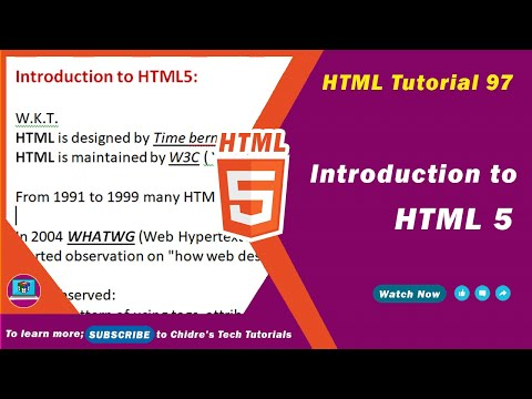 HTML Video Tutorial - 97 - Introduction To HTML5