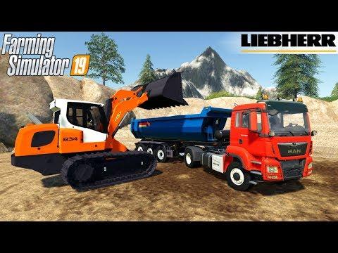 Farming Simulator 19 - LIEBHERR LR 834 COLAS Track Loader Loads Crushed Stone Into Dump Truck
