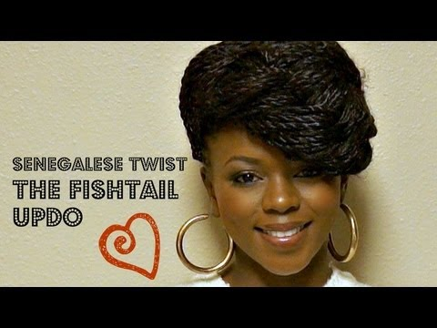 UPDO-Fishtail Braid Your Senegalese Twist! - YouTube
