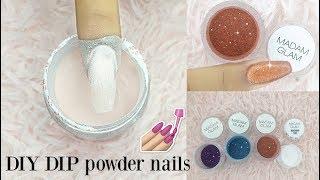DIY DIP Powder nails at home Using ACRYLIC powder + Gel polish 💅||•Madam Glam Collab•||