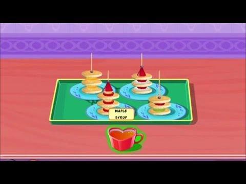 Приготовление мини блинов с фруктами, видео игра для детей