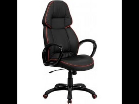 High Back Black Vinyl Executive Swivel Office Chair With Red Pipeline Border