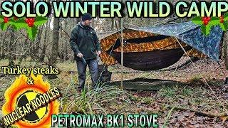 winter woodland solo wild camp  Modified 'A' frame tarp and XL hammock  Petromax BK1 stove
