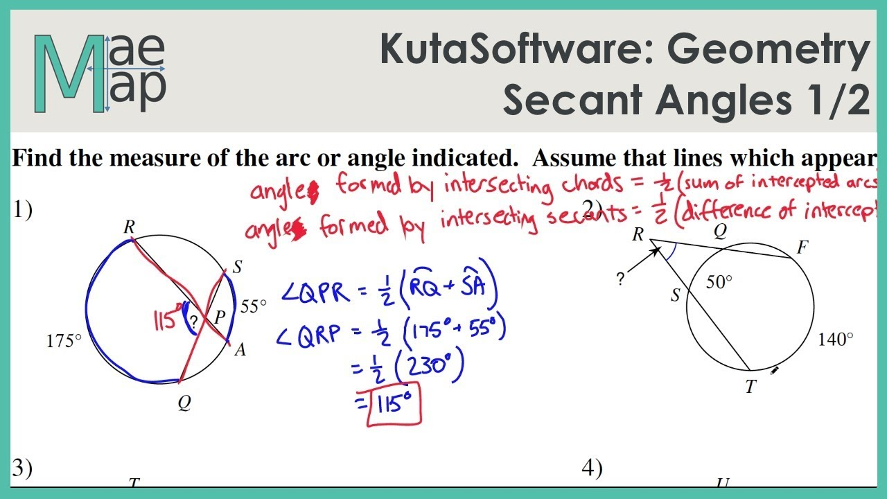 KutaSoftware: Geometry- Secant Angles Part 1
