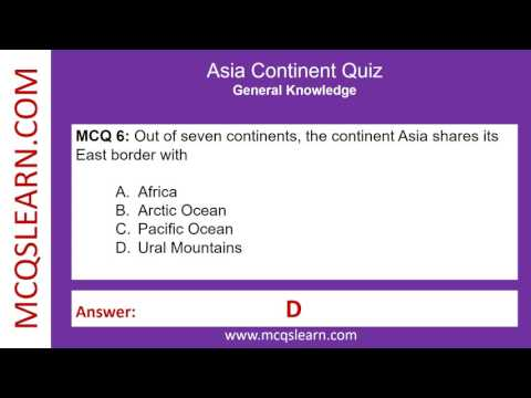 Asia Continent Quiz - MCQsLearn Free Videos