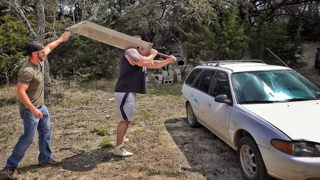 Download Giant Man with World's Biggest Sword vs Car