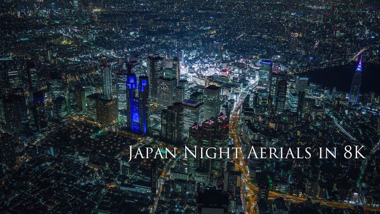 Japan Night Aerials in 8K