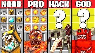 Minecraft Battle: SUPER MONSTER CRAFTING CHALLENGE - NOOB vs PRO vs HACKER vs GOD ~ Animation