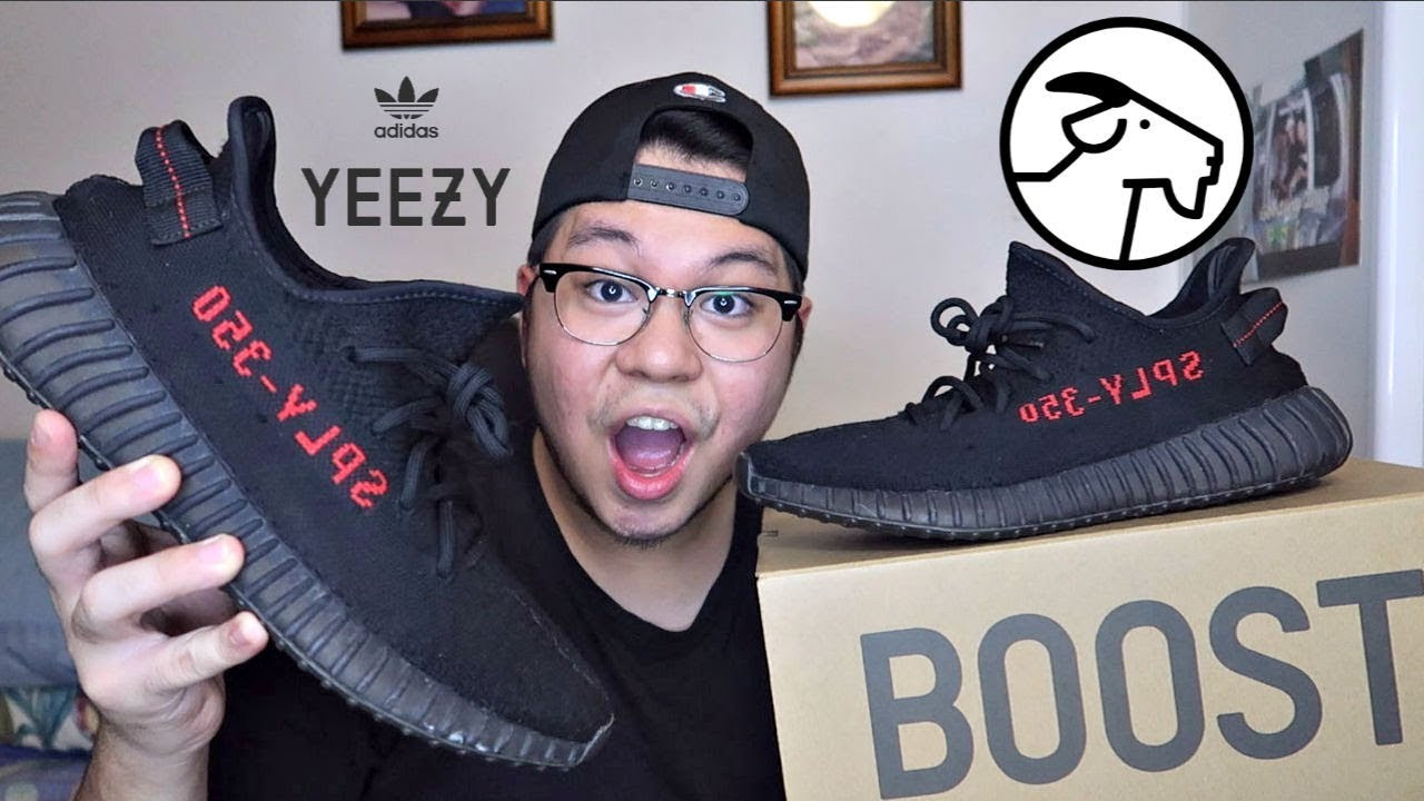 64cdc7828b37f ADIDAS YEEZY BOOST 350 V2 BRED Unboxing + On Feet (GOAT) - YouTube