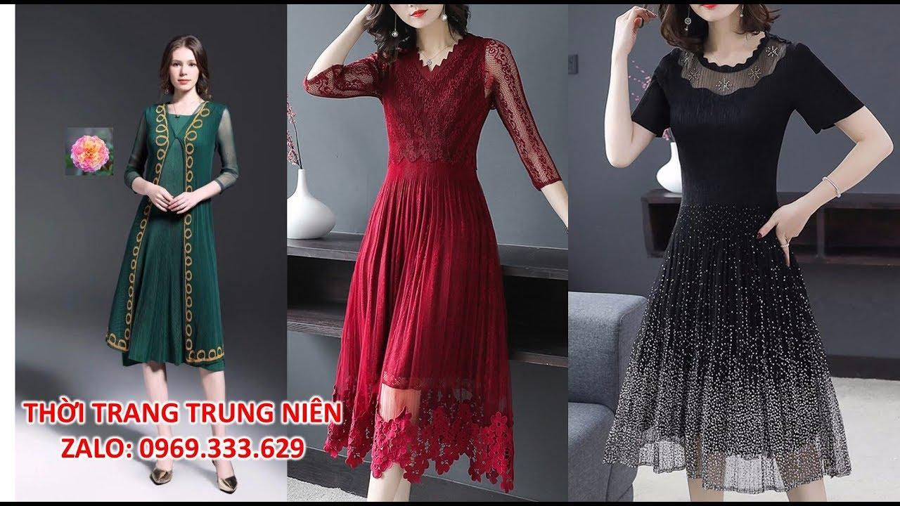 Váy Đầm Xòe Tuổi Trung Niên Cao Cấp Sang Trọng U40 U50  Ren Nhúng Phối Ren Co giãn nhiều Giảm 100K