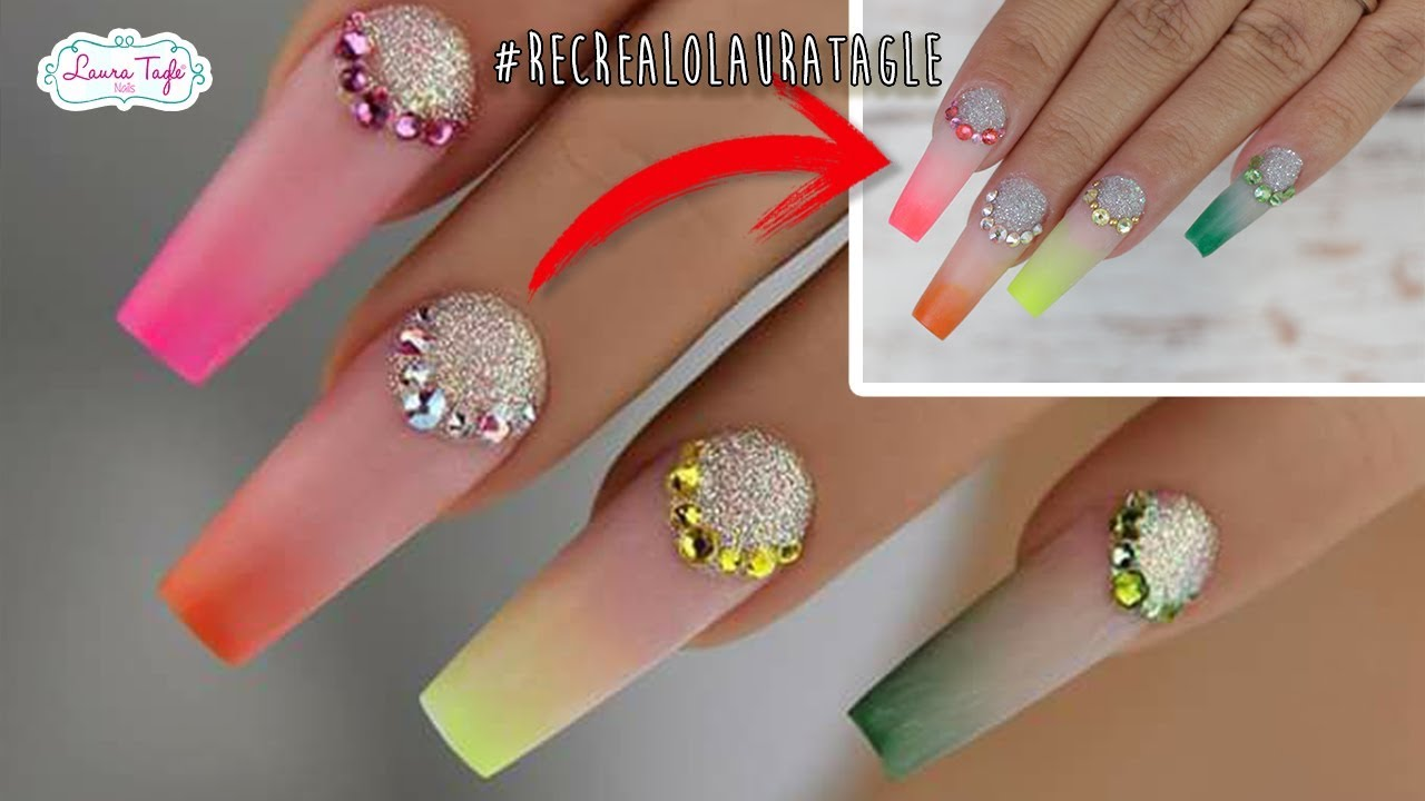 Color Ombre Nail Art #RecrealoLauraTagle - YouTube
