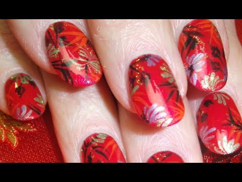 Bamboo Nail Art On Chinese Red Silk Elegant Nails Design Youtube