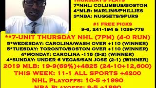 NHL PICKS, 11-1 ALL SPORTS WEEK +4200, 7-UNIT NHL @ 7PM, 4-0 NHL & 4-0 NHL RUN [04-25-19]
